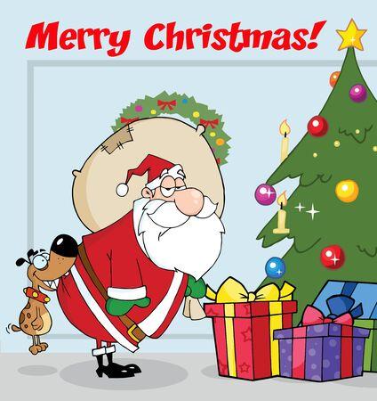 メリー クリスマス クリスマス ツリーによってサンタのお尻をかむ犬テキスト  イラスト・ベクター素材
