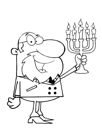 Outlined Rabbi Man Holding Up A Menorah Vector