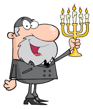 jewish: Rabbi Man Holding Up A Menorah