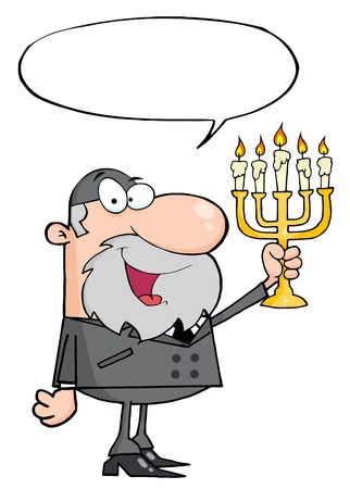 jews: Rabbi Man Holding Up A Menorah, With A Word Balloon