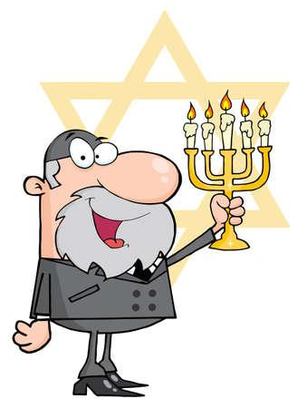 Rabbi Man Holding Up A Menorah, With The Star Of David  Vector