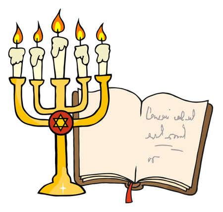 Golden Menorah And Book  Vector