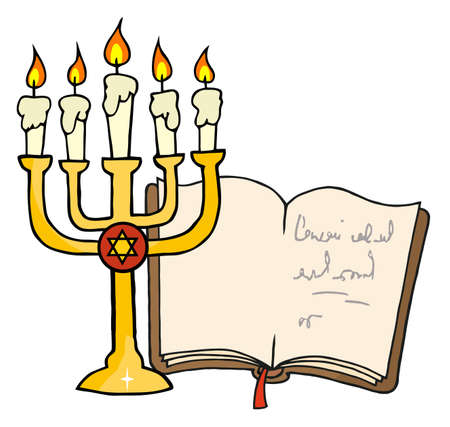 jewish: Golden Menorah And Book