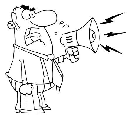 Outlined Angry Boss Man Screaming Into Megaphone Vector