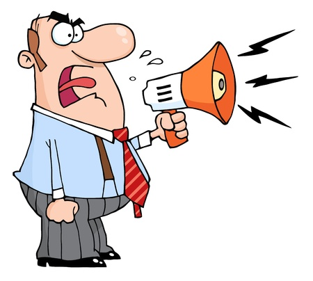 degrade: Angry Boss Man Screaming Into Megaphone