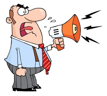 angry cartoon: Angry Boss Man Screaming Into Megaphone