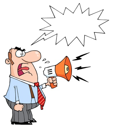 shouting: Angry Boss Man Screaming Into Megaphone, With A Word Balloon  Illustration