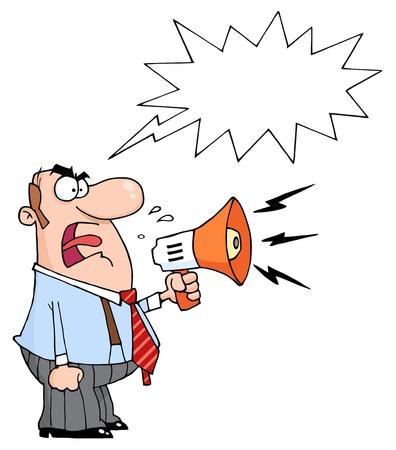 Homme de Boss en colère crier au mégaphone, avec un ballon de mot