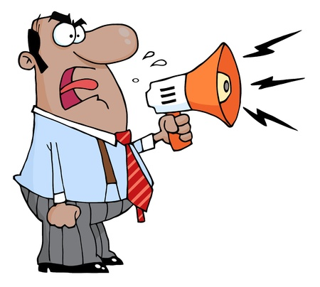 Angry African American Boss Man Screaming Into Megaphone