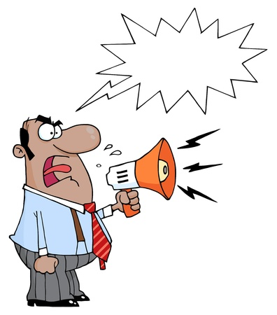 reprimand: Angry African American Boss Man Screaming Into Megaphone,With A Word Balloon