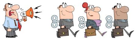 Boss Mann schreiend in Megaphone In drei Geschäftsmänner Menschen mit Wind-up Schlüssel In seinem Rücken Standard-Bild - 8644343