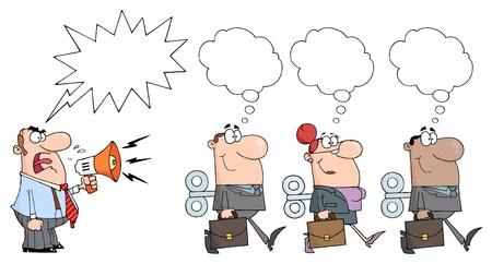 falta de respeto: Enojado Bossman gritando en meg�fono en tres hombres de negocios con un globo de Word
