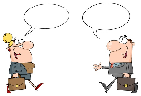communication cartoon: Business Meeting Between A Woman And Man With A Word Balloon