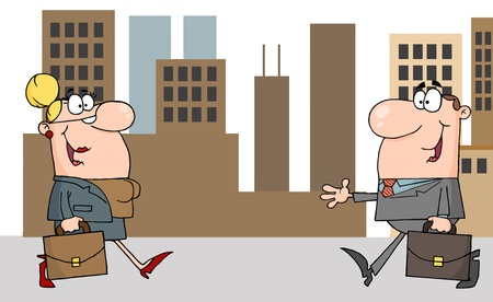 communication cartoon: Business Meeting Between A Woman And Man In Downtown  Illustration