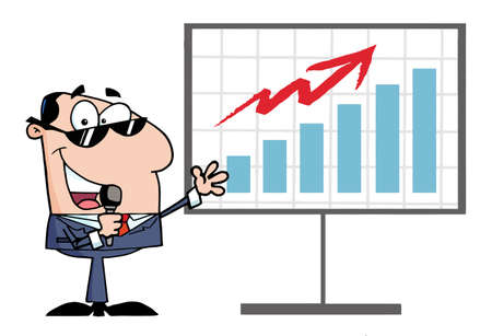 sales graph: Businessman Talking Into A Microphone And Present For Board