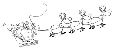 Outlined Team Of Reindeer And Santa In His Sleigh Flying  Vector