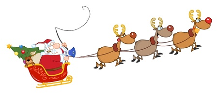 Santa Claus And Team Of Reindeer In His Sleigh Flying
