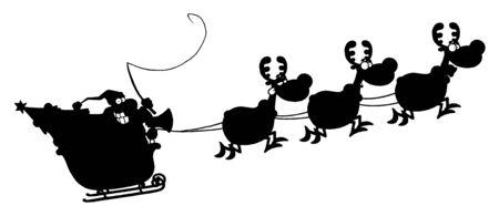 Zwart Afgebeeld Van Magic Reindeer En Santa's Sleigh Stock Illustratie