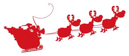 Red Silhouetted Of Magic Reindeer And Santas Sleigh