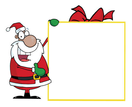 African American Santa With Big Gift Banner  Vector