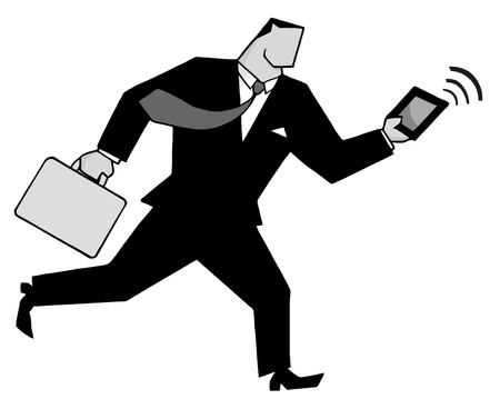 Businessman Running With Suitcases And Tablet In Gray  Stock Vector - 8644278