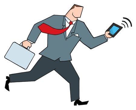 Businessman Running With Suitcases And Tablet Stock Vector - 8644285