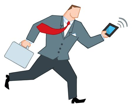 Businessman Running With Briefcase And Tablet Stock Vector - 8644284