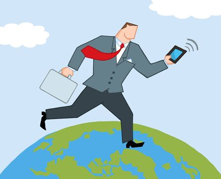 businessman carrying a globe: Businessman Running Around A Globe With Suitcases And Tablet