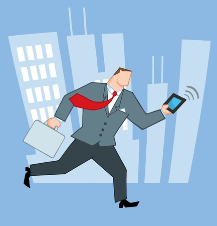 mobile: Businessman Running In The City With Suitcases And Tablet  Illustration