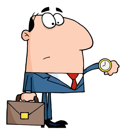 Office Worker Watching The Clock Stock Vector - 8644281