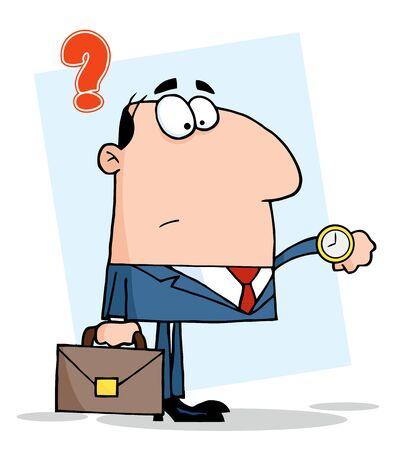 Businessman Watching The Clock Stock Vector - 8644294