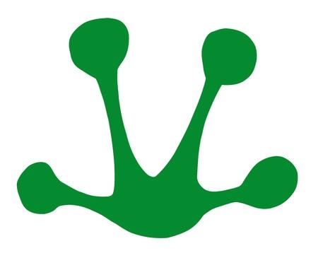 animal foot: Green Frog Print Silhouette  Illustration