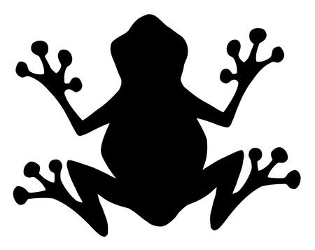 amphibians: Frog Black Silhouette  Illustration