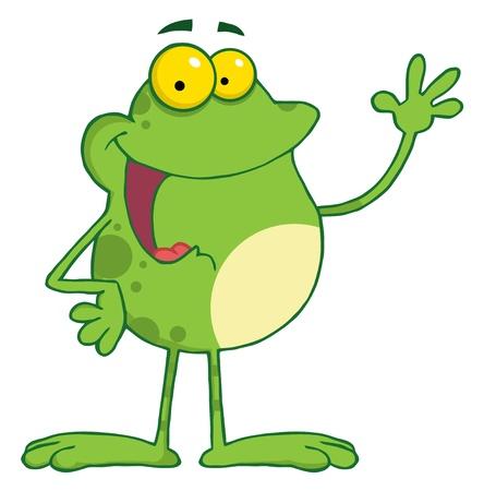 smiling frog: Caricatura de rana de mascota agitando un saludo  Vectores