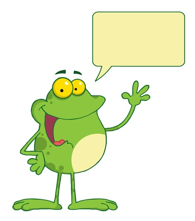 Frog Cartoon Mascot Character Waving A Greeting With Speech Bubble