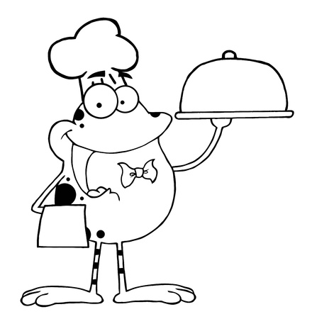 Outlined Frog Cartoon Mascot Character Chef Serving Food In A Sliver Platter
