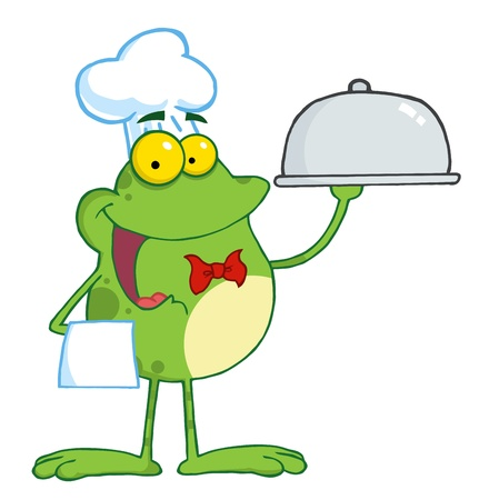 Frog Cartoon Mascot Character Chef Serving Food In A Sliver Platter  Vector