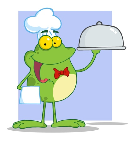 Frog Chef Serving Food In A Sliver Platter  Vector