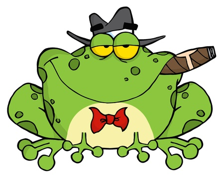Frog Cartoon Mobster With A Hat And Cigar  Иллюстрация