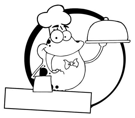 Outlined Frog Chef Serving Food In A Sliver Platter Logo Banner  Vector