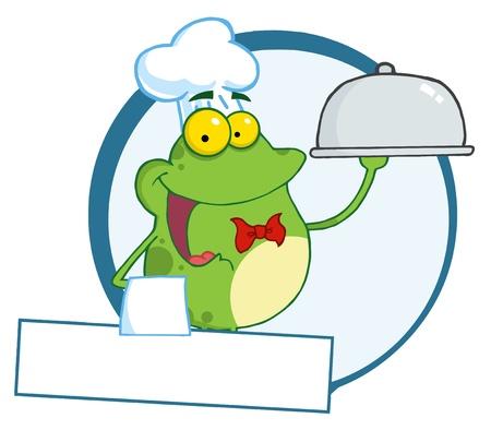froggy: Frog Chef Serving Food In A Sliver Platter Banner  Illustration