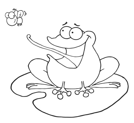 Outlined Frog Catching Fly Stock Vector - 8721140