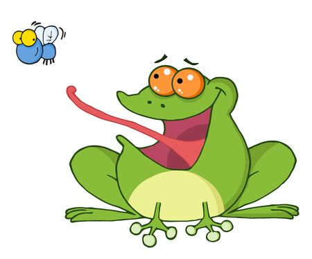 Frog And Fly Cartoon Character Stock Vector - 8721150