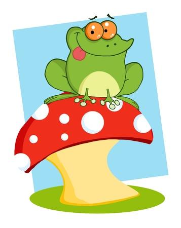 Tree Frog On A Toadstool Or Mushroom  Vector