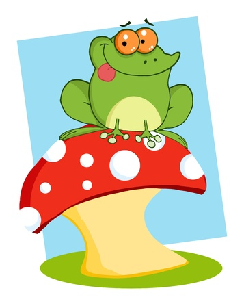 toadstool: Tree Frog On A Toadstool Or Mushroom