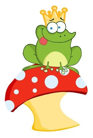a toadstool: Happy Frog Prince On A Toadstool Or Mushroom  Illustration