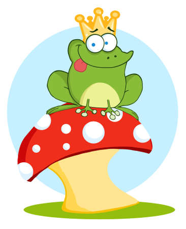 Frog Prince On A Toadstool Or Mushroom  Vector