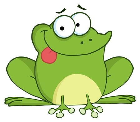 sapo: Personaje de dibujos animados de rana feliz