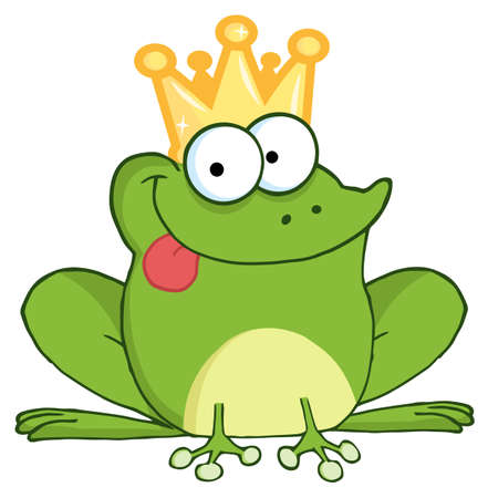 amphibians: Frog Prince Cartoon Character Illustration