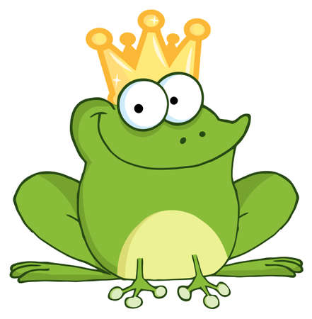 the frog prince: Happy Frog Prince Cartoon Character
